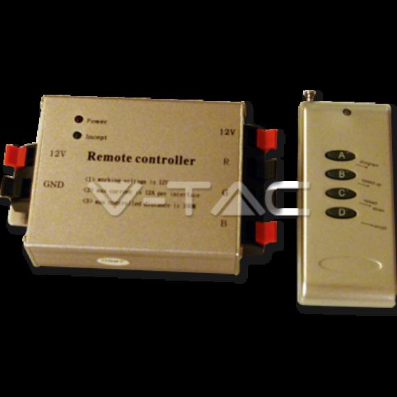 LED szalag vezérlő,fényerő szabályozó (12-24V DC) 12 A rádiós távirányítóval - 144 W
