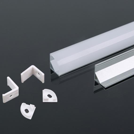 Alumínium sarok profil 2000 x 15.8 x 15.8mm tejfehér fedlappal