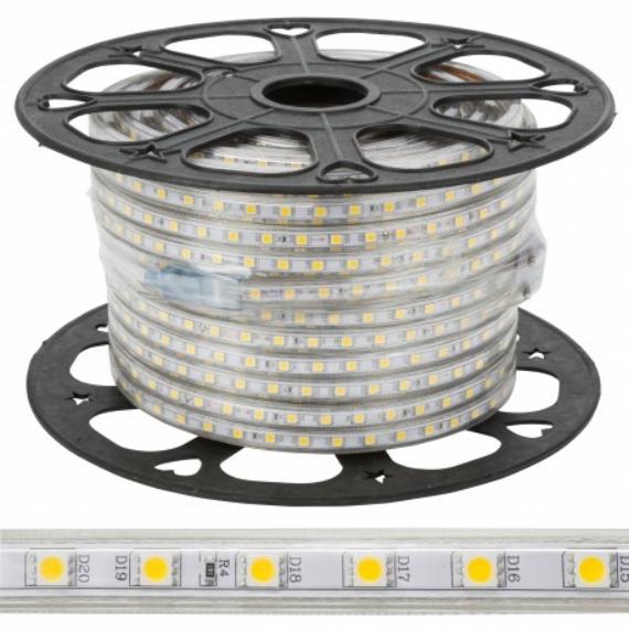 LED slag 220V, kültéri 50m/tekercs, meleg fehér színben
